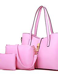 Mulher Bolsas Todas as Estações Couro Ecológico Bolsa de Ombro Tote Conjuntos de saco com para Compras Casual Formal Branco Preto Azul