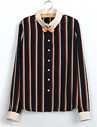 Women's Striped Black Shirt , Bow Long Sleeve Bow