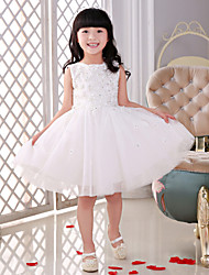 Flower Girl Dress Knee-length Lace/Tulle Princess Sleeveless Dress