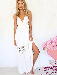 Women's Sexy Halter Deep V Lace Spliced Backless Maxi Dress