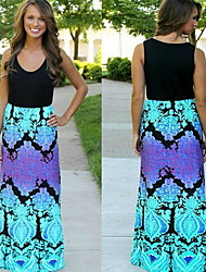 Women's Round Dresses , Polyester Casual/Print Sleeveless summer