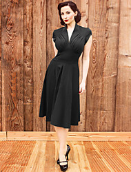 Women's Sexy Casual Party Short Sleeve V-neck Vintage Retro Dress