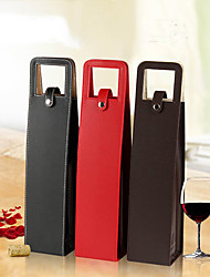 Single Wine Bottle Leather Gift Tote Bag Wine Bottle Carrier (Random Color)