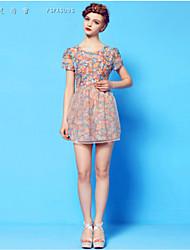 Women's Print/Patchwork Blue/Green Dress , Print/Party Round Neck Short Sleeve Flower