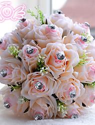 Fleurs de mariage Rond Roses Bouquets Mariage Polyester / Satin / Perle / Mousse Env.22cm