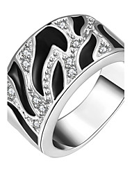 Statement Rings Silver Brass Zircon Cubic Zirconia Silver Plated Simulated Diamond Fashion Jewelry Party 1pc