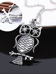 Personalized Gift Stainless Steel Owl Shaped Pendant Necklace Engraved Jewelry