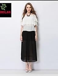 YIMILAN® Women's New Lotus Leaf Chiffon Unlined Upper Garment + Perspective Side Split Chiffon Skirt Suit Dress