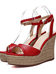 Women's Shoes Leather Wedge Heel Wedges/Round Toe/Open Toe Sandals Outdoor/Casual Yellow/Red