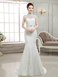 Trumpet / Mermaid Wedding Dress Sweep / Brush Train High Neck Lace / Satin with