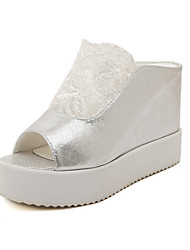 Women's Shoes Wedge Heel Wedges Slippers Casual White/Silver