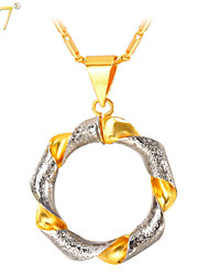 U7® Unisex New Trendy Gifts Charms Women Jewelry 18K Real Gold/Platinum Plated Twisted Two Tone Gold Necklaces Pendants