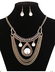 MPL Fashion retro water drop chain short paragraph collar collar Earrings Set