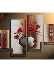 Hand-Painted Vintage Vase Flowers Oil Painting on Canvas  4pcs/set No Frame