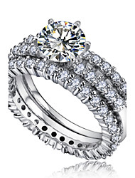 Ringe Imitation Diamant Hochzeit / Party Schmuck Aleación Damen Bandringe 1 Stück,8 Silber