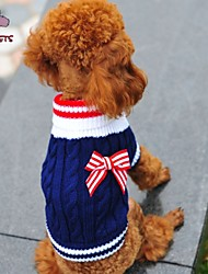 Dog / Cat Sweater Red / Blue Winter Bowknot Wedding / Cosplay