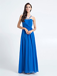 Lanting Bride® Floor-length Chiffon Bridesmaid Dress - Sheath / Column Spaghetti Straps Plus Size / Petite with Side Draping