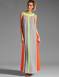 vestido de bloque rayado / del color de las mujeres, sexy / playa / del halter del partido