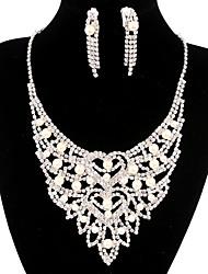 jóias de cobre prata moda longa queda totalmente strass jogo 17