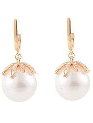 Elegant Shell Pearl Persimmon Shape Dangle Earrings - 2 Colors Available