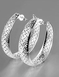 Silver Plated Africa Design Hollow Out Hoop Earrings Women's/Girl's Jewelry