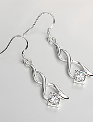 Hot Sale Wedding Dress Unique Design Silver Plated Drop Earrings for Lady with Zircon Fashion Fine Accessories