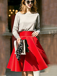 Fashion High Waist Solid Color Swing Pleated Skirts