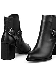 Women's Shoes Leather Low Heel Fashion Boots/Combat Boots Boots Office & Career/Party & Evening/Casual Black