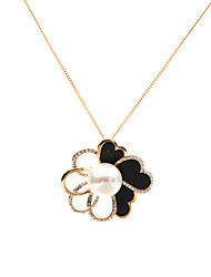 Elegant 18k Gold Plating Alloy with Freshwater Pearl High Luster Blossom Pendant Necklace