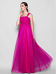 Lanting Bride Floor-length Tulle Bridesmaid Dress Sheath / Column One Shoulder Plus Size / Petite with Side Draping