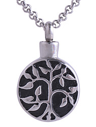 Men Women Stainless Steel Round Life Tree Pendant Necklace Cremation Jewelry Memorial Funeral Urns