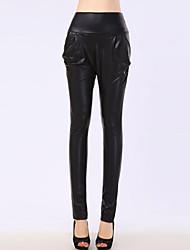 Women's High Waist Leather Harem Pants