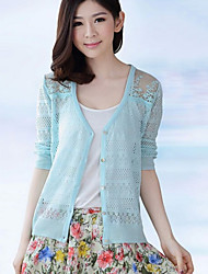 Women's Summer Casual ¾ Sleeve Cardigan Knit T-shirt