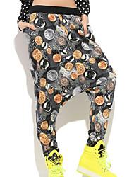Kvinner Fritid/Trykt mønster Harem Bukser Polyester/Bomullsblandinger Mikroelastisk