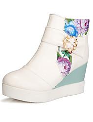 Zapatos de mujer Semicuero Tacón Cuña Punta Redonda Botas Casual Azul/Rosa/Blanco