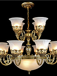 Bronze Chandeliers Fifteen-Lights Moire-Glass European Retro Classic 220V