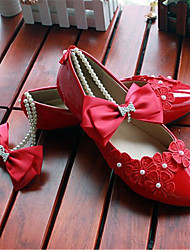 Women's Shoes Leather Flat Heel Pointed Toe Flats Wedding/Party & Evening Red