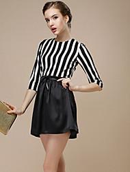 TS Women's Simplicity Inelastic Stripes Splcing Slim Elegant OL Style Above Knee Dress(Polyester)