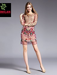 YIMILAN® Women's The New 2015 Heavy Lace Embroidery Dress