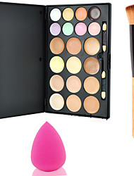 15Colors Contour Face Powder Mirror Makeup Palette+1PCS Powder Brush+Sponge Puff