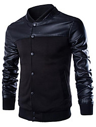 Men's Casual Long Sleeve Regular Jacket (Cotton/PU)