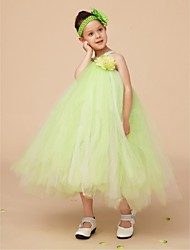 Flower Girl Dress Knee-length Tulle Ball Gown Sleeveless Dress(Headpiece Not Include)