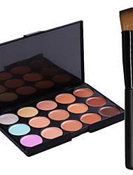New 15Colors Salon Contour Face Cream Makeup Concealer Palette+1PCS Makeup Foundation Brushes