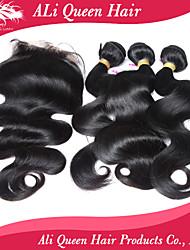 Ali Queen Hair Products 3Pcs 6A Malaysian Virgin Hair body Wave Wifh 1Pcs 4*4 Swiss Lace Closures 100% human hair