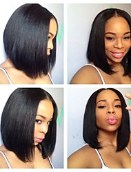 In Stock 10-30Inch Unprocessed Peruvian Virgin Hair Bob Straight Natural Black Lace Front Wig