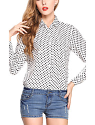 Women's Loose Dots Chiffon Blouse Summer Tops Plus Size Shirt
