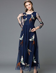 Autumn Embroidery Vintage Style Plus Size Women Sexy See Through GauzeLong Sleeve Luxury Party/Casual Long Dresses