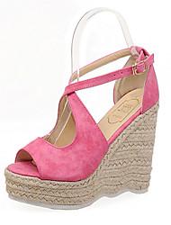 Women's Shoes Fleece Wedge Heel Wedges/Platform Sandals Casual Purple/Red/Beige