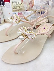 Women's Shoes Chunky Heel Round Toe Sandals Casual Pink/Beige