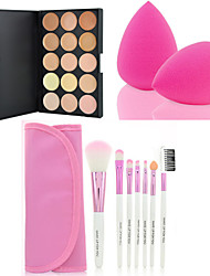 HOT SALE 15 Colors Contour Face Cream Makeup Concealer Palette + 7PCS Pink Makeup Brushes Set Kit + Powder Puff